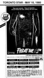 "AD FOR ""FRIDAY THE 13TH"" - UPTOWN AND OTHER THEATRES"
