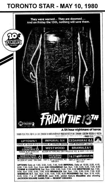 "AD FOR ""FRIDAY THE 13TH"" - NORTH YORK SHERIDAN AND OTHER THEATRES"