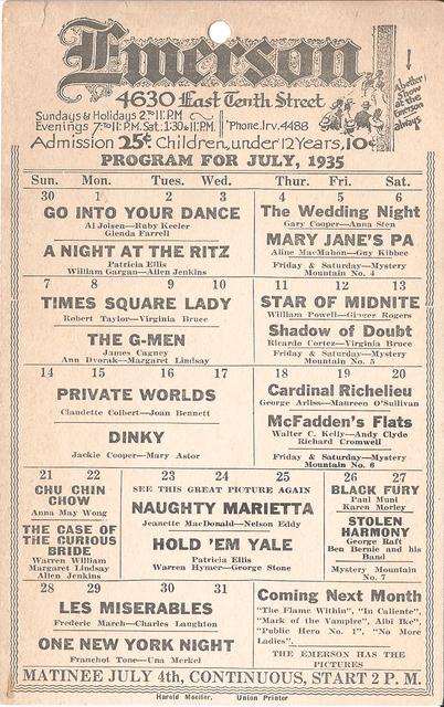 Emerson Theater - July 1935 Program