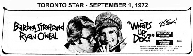 """AD FOR """"WHAT'S UP DOC?' 25TH WEEK - HOLLYWOOD THEATRE"""