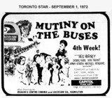 "AD FOR ""MUTINY ON THE BUSES"" - JACKSON SQUARE THEATRE"