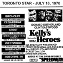 "AD FOR ""KELLY'S HEROES"" - BIRCHCLIFF AND OTHER THEATRES"