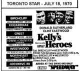 """AD FOR """"KELLY'S HEROES"""" - NORTHEAST DRIVE-IN AND OTHER THEATRES"""