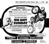 "AD FOR ""ON ANY SUNDAY"" - WESTWOOD AND OTHER THEATRES"