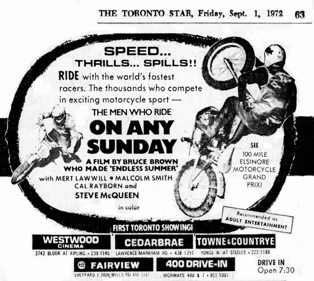 """AD FOR """"ON ANY SUNDAY"""" - FAIRVIEW AND OTHER THEATRES"""
