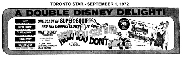 """AD FOR """"NOW YOU SEE HIM, NOW YOU DON'T & LADY AND THE TRAMP - PARK AND OTHER THEATRES"""