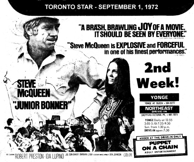 """AD FOR """"JUNIOR BONNER"""" NORTHEAST DRIVE-IN AND YONGE THEATRE"""