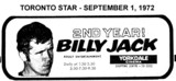 "AD FOR ""BILLY JACK"" 2ND YEAR - YORKDALE CINEMA"