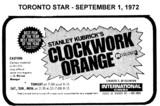 "AD FOR ""CLOCKWORK ORANGE"" - INTERNATIONAL CINEMA"