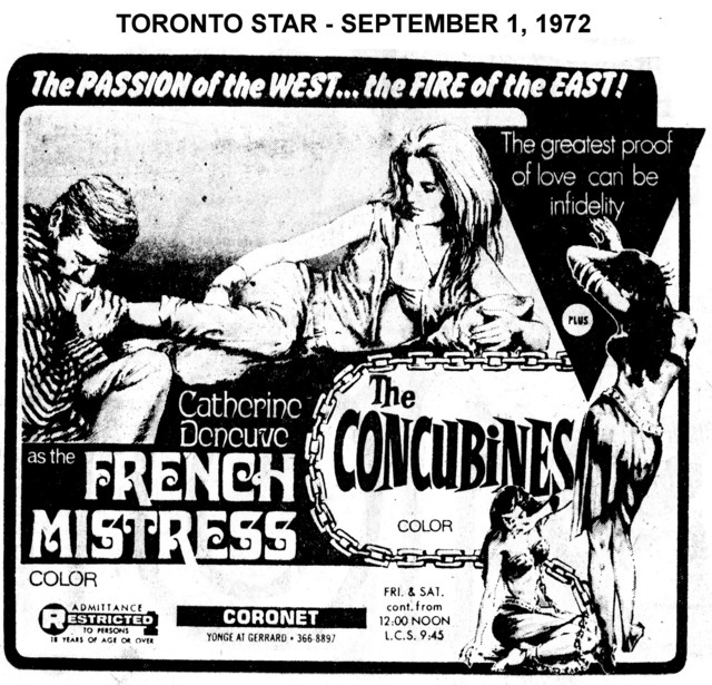 """AD FOR """"FRENCH MISTRESS & THE CONCUBINES"""" - CORONET THEATRE"""