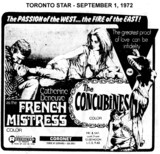 "AD FOR ""FRENCH MISTRESS & THE CONCUBINES"" - CORONET THEATRE"