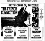 "AD FOR ""THE FRENCH CONNECTION & WITHOUT APPARENT MOTIVE"" - ALBION 1 CINEMA"