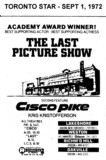 """AD FOR """"THE LAST PICTURE SHOW & CISCO PIKE"""" - WESTON AND OTHER THEATRES"""