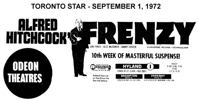 """AD FOR """"FRENZY"""" ODEON HYLAND AND DRIVE INS"""