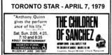 "AD FOR ""THE CHILDREN OF SANCHEZ"" - NORTH YORK SHERIDAN THEATRE"