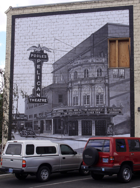 Mural of Poole's Pelican Theatre, Klamath Falls, OR -- July 2911