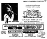 """AD FOR """"COAL MINER'S DAUGHTER"""" - MALTON AND OTHER THEATRES"""