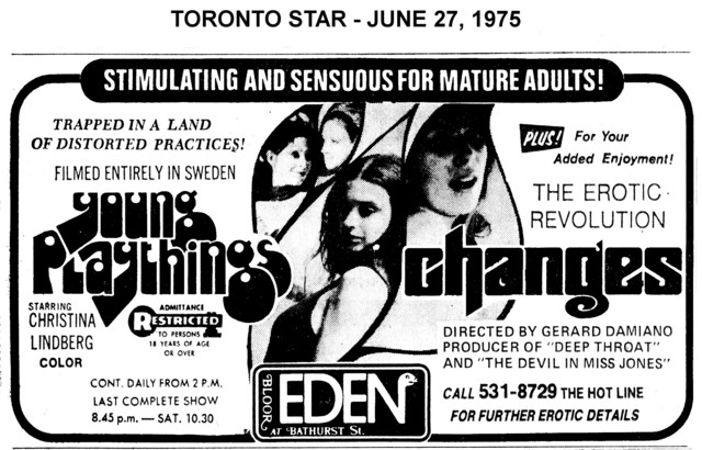 """AD FOR """"YOUNG PLAYTHINGS & CHANGES"""" - EDEN THEATRE"""