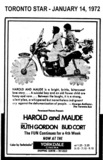 "AD FOR ""HAROLD AND MAUDE"" - YORKDALE THEATRE"