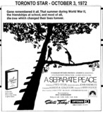 "AD FOR ""A SEPARATE PEACE"" - UPTOWN 3 THEATRE"