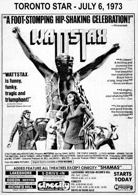 """AD FOR """"WATTSTAX"""" - 5 DRIVE-IN  AND OTHER THEATRES"""