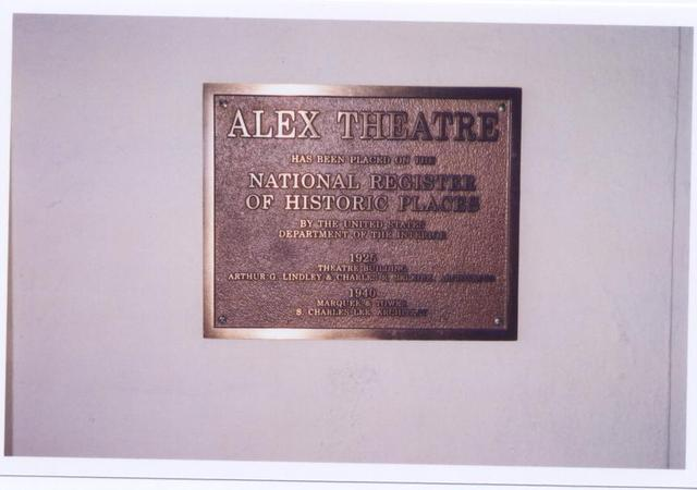 Alex Theatre National Register Of Historic Places Plaque 2005