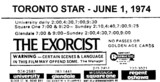 "AD FOR ""THE EXORCIST"" - REGENT (OSHAWA) AND OTHER THEATRES"