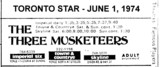 "AD FOR ""THE THREE MUSKETEERS"" - TOWN & COUNTRYE AND OTHER THEATRES"