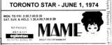 """AD FOR """"MAME"""" - EGLINTON THEATRE"""