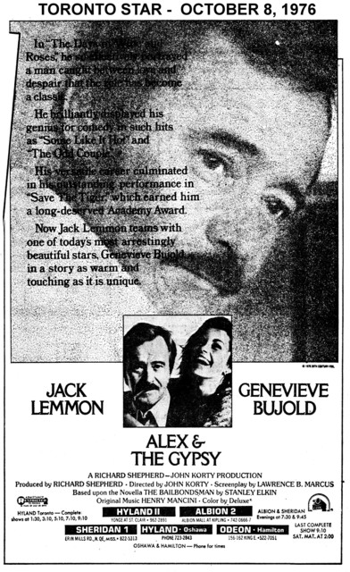 "AD FOR ""ALEX AND THE GYPSY"" - SHERIDAN 1 & OTHER THEATRES"
