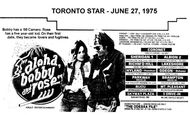 "AD FOR ""ALOHA BOBBY AND ROSE"" - 5 DRIVE-IN & OTHER THEATRES"