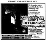 "AD FOR ""BURNT OFFERINGS"" - UPTOWN AND OTHER THEATRES"