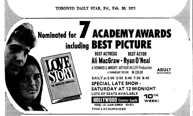 """AD FOR """"LOVE STORY"""" - HOLLYWOOD THEATRE"""