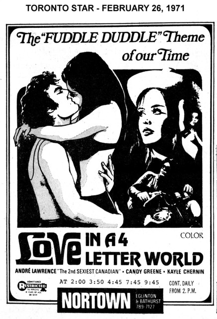 """AD FOR """"LOVE IN A 4 LETTER WORLD"""" - NORTOWN THEATRE"""