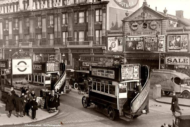 The Court Theatre in 1927, a year or two before being torn down to build the Dominion.. Credit: Stockholm Transport Museum Photo, courtesy of the Who Knows East - Old Photographs Facebook page.