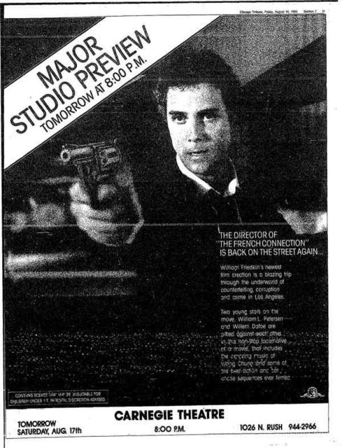 """8/16/85 Chicago Tribune Sneak Preview ad for """"To Live and Die in LA""""."""