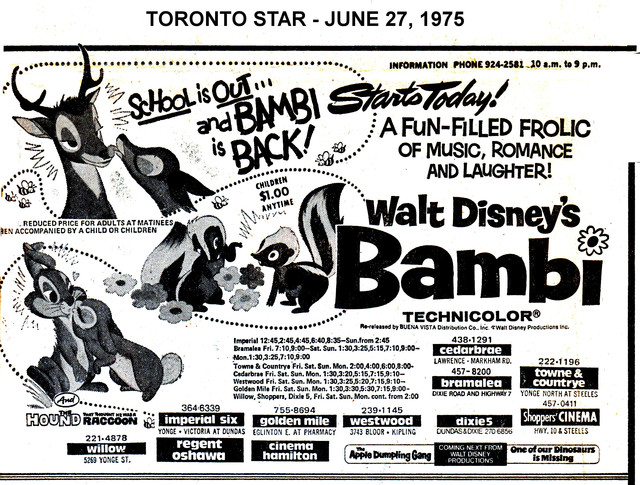 """AD FOR """"BAMBI"""" - REGENT (OSHAWA) AND OTHER THEATRES"""