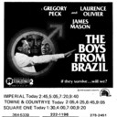 """AD FOR """"THE BOYS FROM BRAZIL"""" - IMPERIAL AND OTHER THEATRES"""