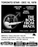 """AD FOR """"THE BOYS FROM BRAZIL"""" - SQUARE ONE AND OTHER THEATRES"""