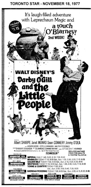 """AD FOR """"DARBY O'GILL AND THE LITTLE PEOPLE"""" - IMPERIAL AND OTHER THEATRES"""