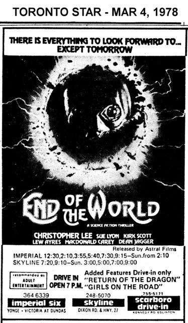 """AD FOR """"END OF THE WORLD"""" - SCARBORO DRIVE-IN & OTHER THEATRES"""