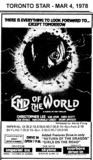 "AD FOR ""END OF THE WORLD"" - SCARBORO DRIVE-IN & OTHER THEATRES"