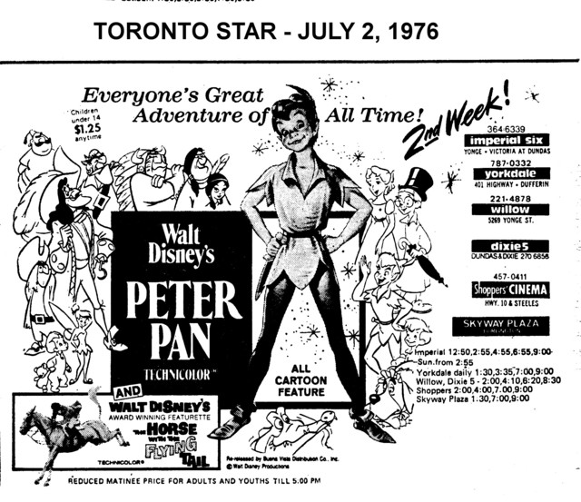 """AD FOR """"PETER PAN"""" - SKYWAY PLAZA (BURLINGTON) AND OTHER THEATRES"""