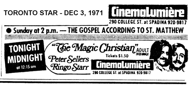 "AD FOR ""THE MAGIC CHRISTIAN"" - CINEMALUMIERE THEATRE"