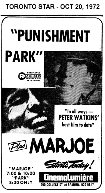"AD FOR ""PUNISHMENT PARK & MARJOE"" - CINEMALUMIERE"