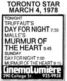 "AD FOR ""DAY FOR NIGHT & MURMUR OF THE HEART"" CINEMALUMIERE"