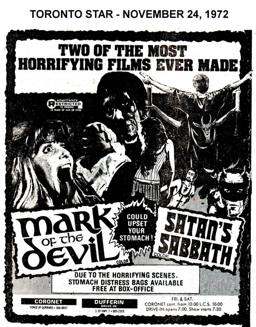 """AD FOR """"MARK OF THE DEVIL & SATAN'S SABBATH"""" - DUFFERIN DRIVE-IN AND CORONET THEATRE"""