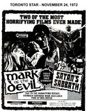 "AD FOR ""MARK OF THE DEVIL & SATAN'S SABBATH"" - DUFFERIN DRIVE-IN AND CORONET THEATRE"