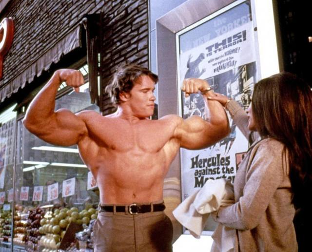 Arnold Schwarzenegger Filming A Scene From His Movie Debut,