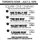 "AD FOR ""LISTINGS OF SQUARE ONE CINEMAS"""